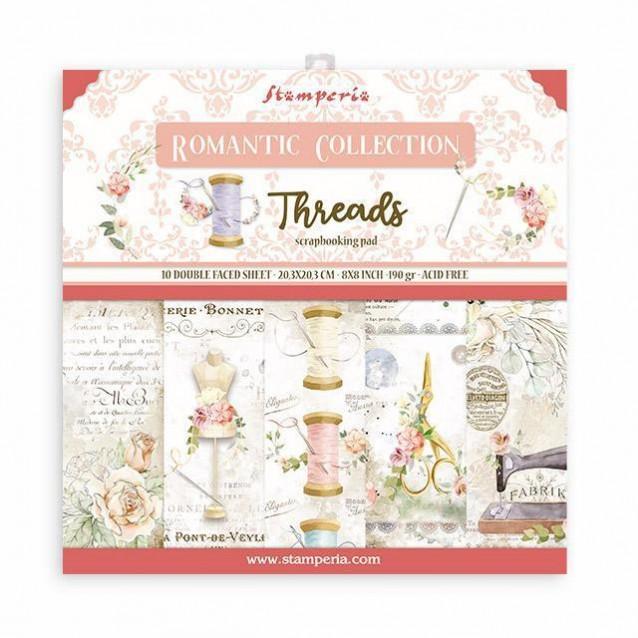 Stamperia 10 Χαρτιά Scrapbooking 20,3x20,3cm Διπλής Όψης Romantic Threads