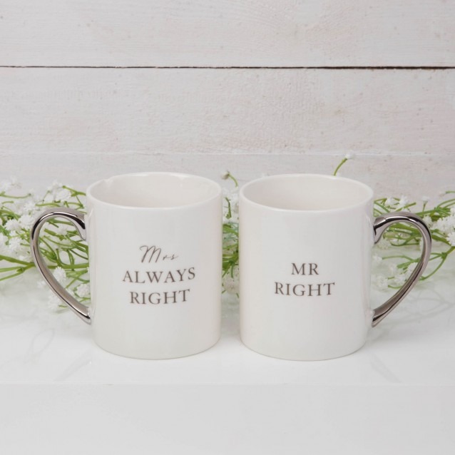 Amore Mug Gift Set pair - Mr Right Mrs Always Right