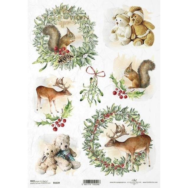 Itd. Collection Ριζόχαρτο Decoupage Χριστουγεννιάτικο A4 (21x29,7cm) Christmas Teddy Bears and Squirrels