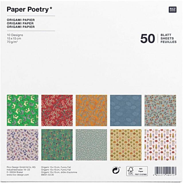 Rico Design 50 Χαρτάκια Οριγκάμι 15x15cm 70gr Funny Fall FSC