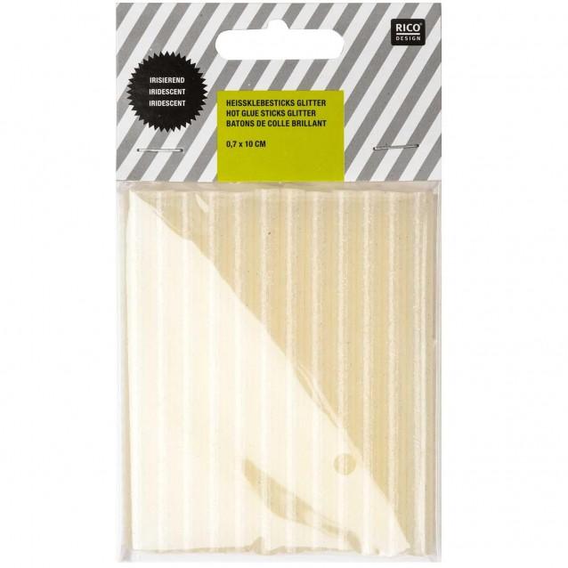 Rico Design 12 ράβδοι Κόλλα Σιλικόνης 0,7x10cm Ιριζέ Glitter