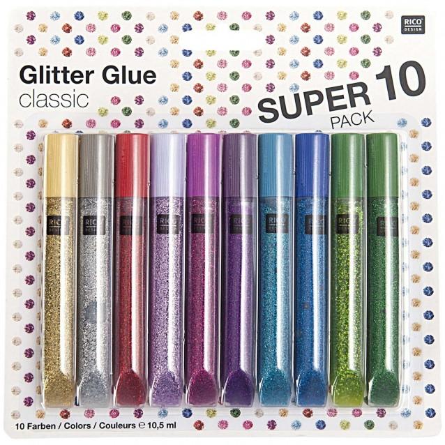 Rico Design 10 Χρώματα x 10,5ml Κόλλα Glitter