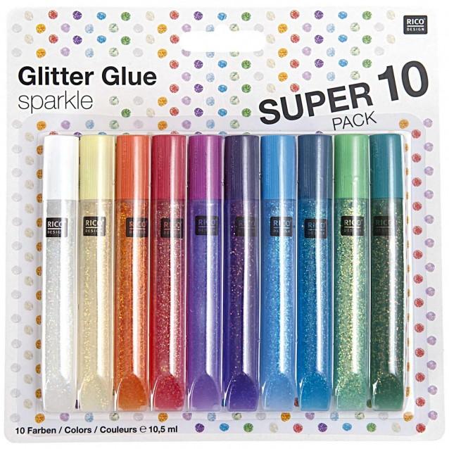 Rico Design 10 Χρώματα x 10,5ml Κόλλα Glitter Ιριδίζουσα