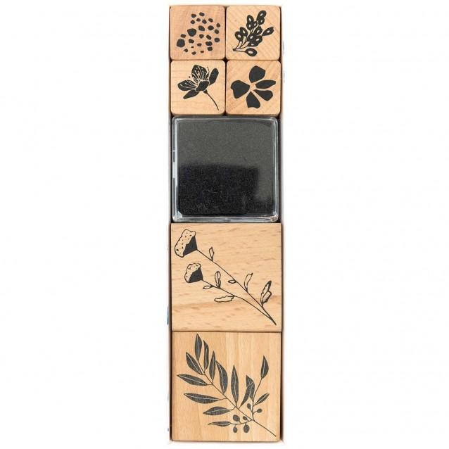 Rico Design 6 Σφραγίδες με Ταμπόν Λουλούδια 100%FSC
